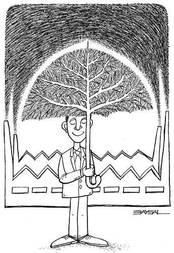 Cartoon: Umbrella and tree (medium) by ercan baysal tagged ink,line,industry,master,picture,draw,daydream,sketch,study,fantasy,symbol,favorite,tag,vision,fine,art,job,good,image,dirtiness,factory,treee,parasol,umbrella,logo,tattoo,black,white,ercanbaysal,turkey,turkiye