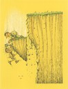 Cartoon: Fall (small) by ercan baysal tagged fall,cliff,man,recanbaysal,cartoon,illustration,türkiye,turkey,yellow,earth,landslide