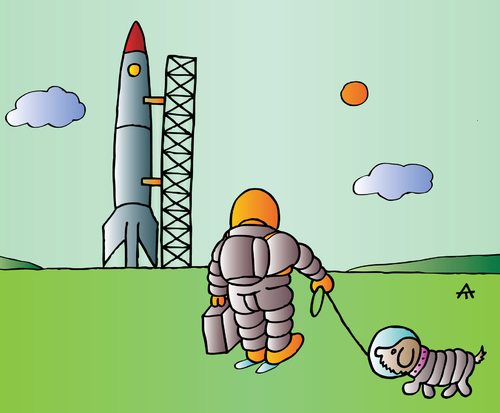 Cartoon: astronaut and dog (medium) by Alexei Talimonov tagged astronaut,dog,hund