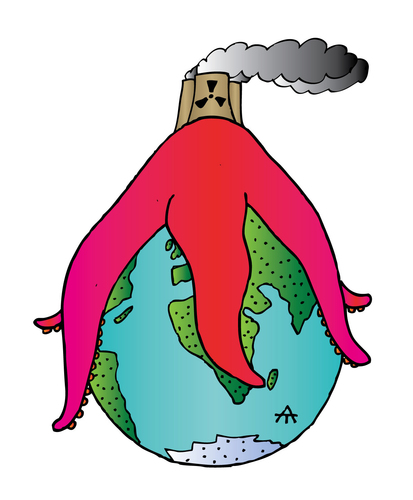 Cartoon: Earth and nuclear (medium) by Alexei Talimonov tagged earth,nuclear,japan,fukushima