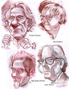 Cartoon: 4 People (small) by Cartoons and Illustrations by Jim McDermott tagged romanpolanski,sciencefiction,raybradbury,bigdaddyroth,isaacasimov,writers,sketchbook,pencildrawings