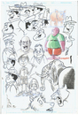 Cartoon: Ink Sketch Page (small) by Cartoons and Illustrations by Jim McDermott tagged faces,sketchbook,tv,cartoons