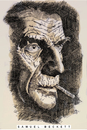 Cartoon: Samuel Beckett (small) by Cartoons and Illustrations by Jim McDermott tagged irishwriter,writer,irish,linedrawing