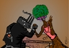 Cartoon: a continous battle (small) by duygu saracoglu tagged nature,mother,hippie,factory,rhinoceros,fraud,gun,victory