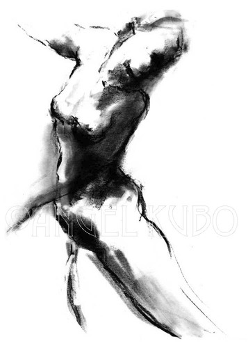 Cartoon: charcoal nude figure drawing art (medium) by ArtAnd tagged girl, ...