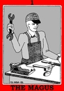Cartoon: The Magus (small) by srba tagged worker tarot cards