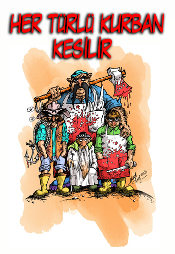 Cartoon: kurban (medium) by aceratur tagged kurban,bayram,kasap