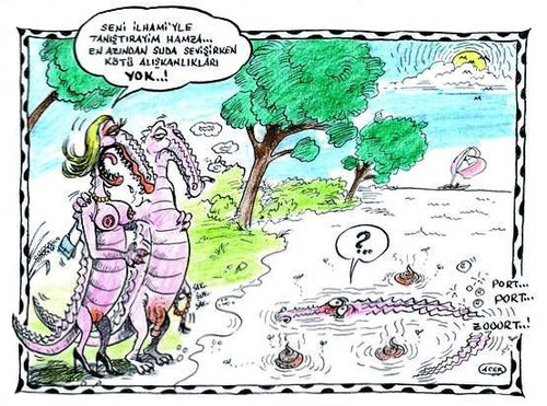 Cartoon: timsah aski (medium) by aceratur tagged timsah,aski