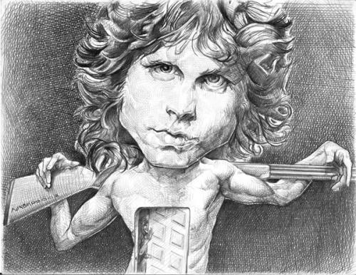Cartoon: Jim Morrison (medium) by salnavarro tagged caricature,pencil,music,star,rock,and,roll,doors,morrison