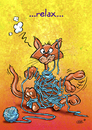 Cartoon: Relax (small) by Stan Groenland tagged cartoon,funny,cute,pussycat,animal,relax,greeting,card