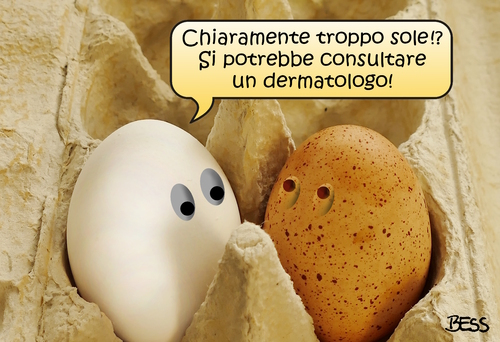 Cartoon: buon consiglio (medium) by besscartoon tagged pasqua,paquetta,sole,uova,dermatologo,male,dottore,bess,besscartoon