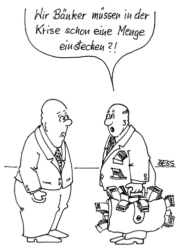 Cartoon: Eine Runde Mitleid... (medium) by besscartoon tagged bank,banken,krise,geld,männer,bess,besscartoon