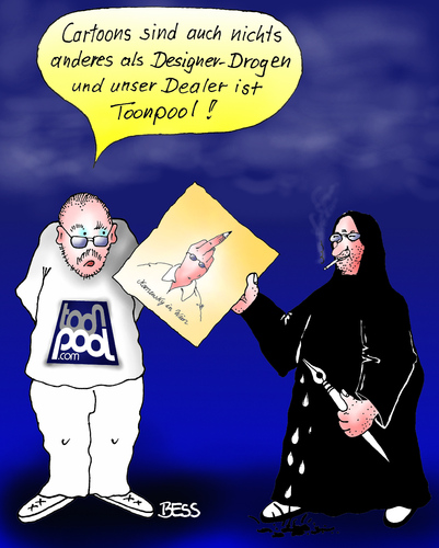 Cartoon: Hommage an die Kollegen (medium) by besscartoon tagged marian,kamensky,andreas,prüstel,cartoon,cartoonisten,designerdrogen,drogen,portrait,toonpool,dealer,stinkefinger,bess,besscartoon