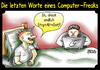 Cartoon: Strg - Alt - Entf (small) by besscartoon tagged männer,mann,computer,strg,alt,entf,technik,freak,tod,sterben,laptop,die,letzten,worte,sterbebett,bess,besscartoon