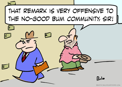 Cartoon: bum community offended (medium) by rmay tagged bum,community,offended,panhandler