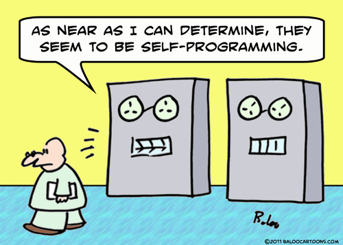Cartoon: computer self programming (medium) by rmay tagged computer,self,programming