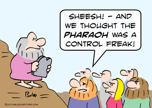 Cartoon: control freak moses pharaoh (medium) by rmay tagged control,freak,moses,pharaoh