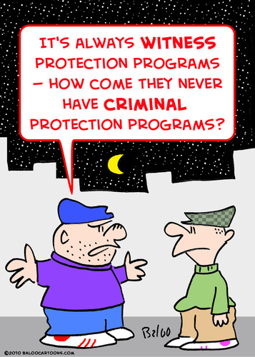 Cartoon: criminal witness protection (medium) by rmay tagged criminal,witness,protection