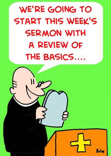 Cartoon: REVIEW BASICS TEN COMMANDMENTS (medium) by rmay tagged review,basics,ten,commandments,priest,preacher,church,religion