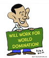 Cartoon: 1world domination obama work wil (small) by rmay tagged world,domination,obama,work,wil