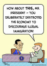Cartoon: discourage illegal immigration (small) by rmay tagged discourage,illegal,immigration,obama,economy
