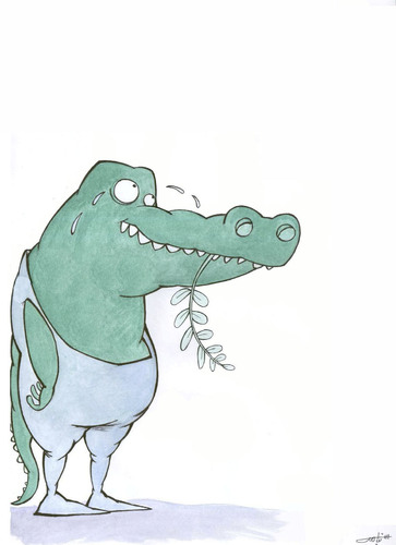 Cartoon: Crocodile tears (medium) by HAMED NABAHAT tagged crocodile,tears